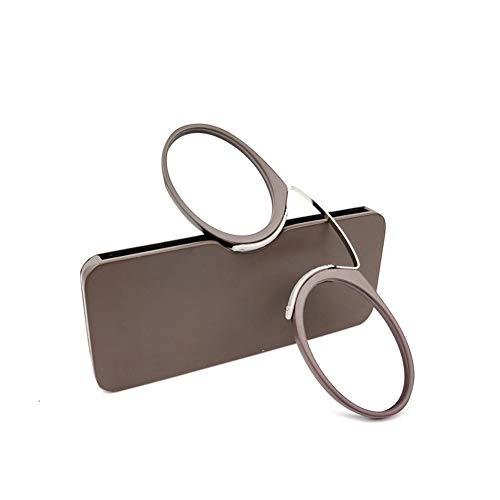 iSpchen Lesebrille tragbar Armlos Männer, Frauen, Stilvolle Frameless Presbyopic Brille mit Tasche, Mini Vergrößerung Glas Zum lesen Braun +2.0 (Sonne Lesen Gläser Für Frauen)