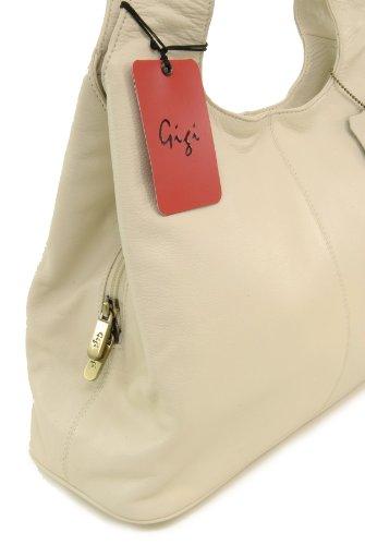 Schultertasche Leder Othello von Gigi - GRÖßE: B: 33 cm, H: 22 cm, T: 12 cm Elfenbein (Crème)