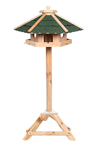 Edles Sechseckiges Vogelhaus 130022 mit Ständer Massivholz 115 cm hoch und mit Schindeldach gedeckt Futterkrippe Futterspender Futterhaus - 2