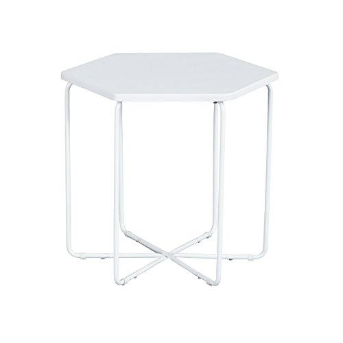 EGGREE Coffee End Table Nightstand Table,Solid MDF Coffee Tea Snack Side End Table Sofa Bedside Hallway Furniture for Bedroom Living Room,Hexagon,White