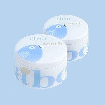 Porcelaine Tweet dent et boîtes boucle - bleu