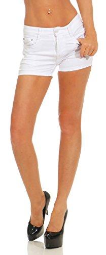 Damen Hotpants Short Kurze Hose Hot-Pants Stretch-Stoff Slimline Slim-Fit (weiß, S) ()