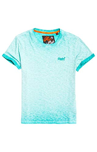Superdry Low Roller Tee T- T-Shirt Turchese (Fluro Aqua BAZ), Medium Homm