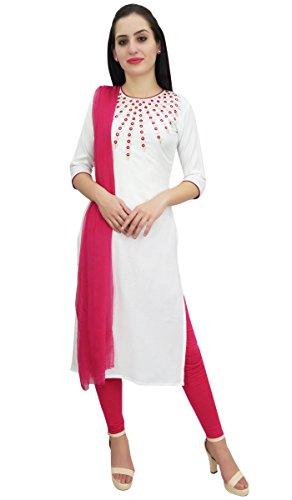 Atasi Rayon Aari Arbeit Designer White Straight Kurti Casual Damenbekleidung-42