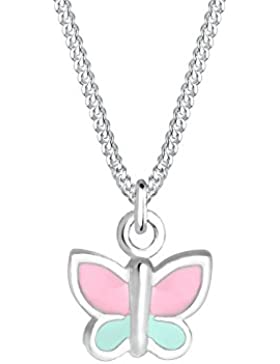 Elli Kinder-Kette mit Anhänger Schmetterling 925 Silber Emaille 36 cm - 0104991017_36