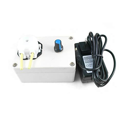 Heaviesk DC 12V Dosierpumpe Einstellbare Durchflussrate DC Motor Labor Mini Säure Dosierperistaltikpumpe für Aquarium Lab