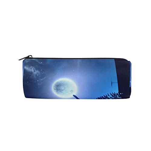 Federmäppchen, schwarze Katze im springenden Mond, Galaxy, Stifttasche, Make-up-Tasche, große Kapazität für Studenten oder Frauen -