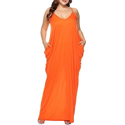 ❤Loveso❤ Große Größen Bekleidung für Damen,Frauen Spaghetti Strap Maxikleid V-Ausschnitt Plus Size Bekleidung mit Taschen