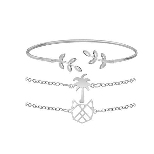 WODESHENGRI Armbänder,Vintage Blätter Cat Kokospalme Armband Sets Metall Gold Colour Chain Armkette Armbänder Für Frauen Schmuck Geschenke