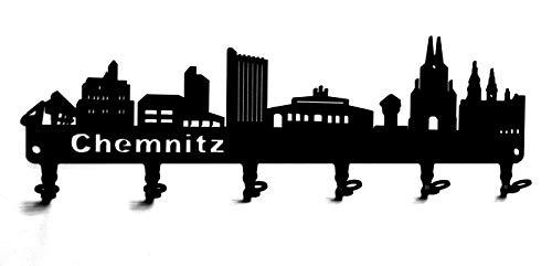 steelprint.de Wandgarderobe - Skyline Chemnitz - Flurgarderobe - Sachsen - Kleiderhaken, Hakenleiste, Garderobeneiste, Garderobenhalter, Garderobe - Metall, schwarz