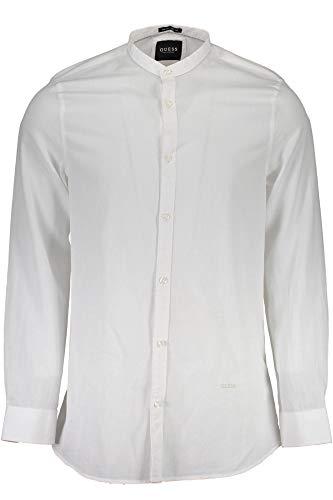 Guess camicia uomo manica lunga con collo alla coreana tessuto microfantasia armaturata, pe22018, art m82h19w9wt0 (m, bianco)
