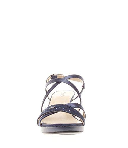Nero Giardini Donna Sandali tacco P717910DE-208 Sandalo tacco in raso e camoscio Blu