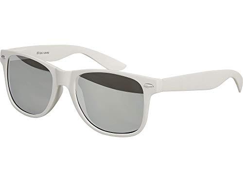 Balinco Hochwertige Nerd Sonnenbrille Rubber im Retro Stil Vintage Unisex Brille mit Federscharnier - 96 verschiedene Farben/Modelle wählbar (Hellgrau - Silber verspiegelt)