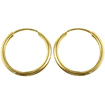 22442a7bb 9ct Gold Plain Sleepers 10mm Hoops Earrings Diameter 10mm / 1cm ...