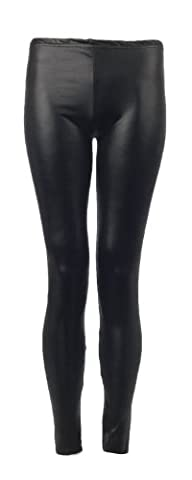 Fast Fashion Damen Glänzenden Wetlook Leder Dünne Leggings Hosen (EUR 40/42 - UK (12-14), Black)