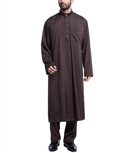 Von Und Pakistan Indien Kostüm - Swallowuk Muslim Anzug Herren Arabisch Mittlerer Osten Langarm Kaftan und Hosen Abaya Mittlerer Osten Kostüm Pakistan Hindu Jüdisch Ethnische Kleidung (XL, Kaffee)