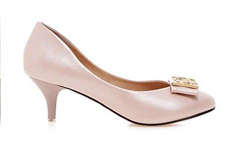 Femmes Slim Shoes Court Avec Orteil À Bout Pointu Orteil Bout Pointu Solide Couleur Métal Bas Rose