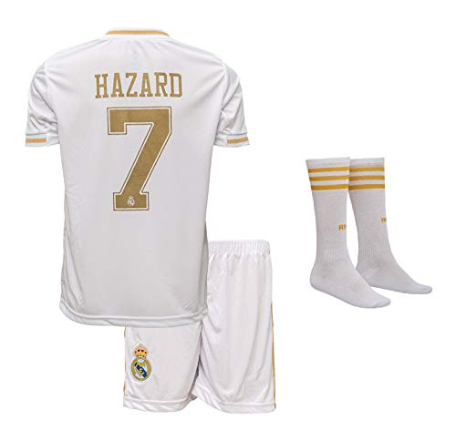 Real Madrid Hazard #7 2019/20 Heim Trikot und Shorts mit Socken Kinder und Jugend Größe