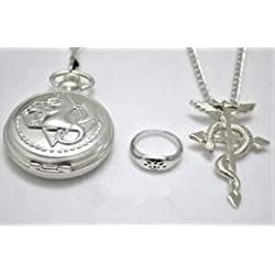 DXtech Fullmetal Alchemist Edward Elric''s Pocket Watch Necklace Ring