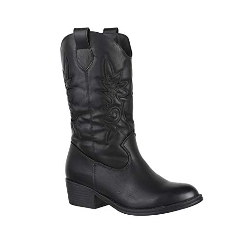 Elara Damen Cowboy Stiefel | Bequeme Lederoptik Stiefeletten | Blockabsatz Zipper | Gefüttert | chunkyrayan 7630-PG Black-37