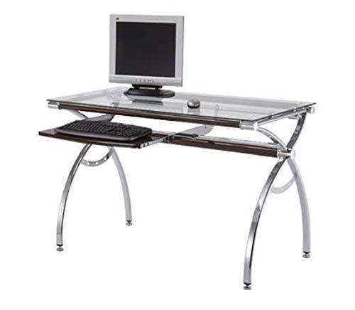 Multiko Moderner Computertisch Schreibtisch Sussex 39C Chrom + Gehärtetes  Glass