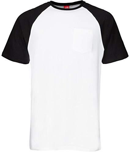 Santa Cruz Schwarz Weiß Dot Pocket Raglan T-Shirt (Large, Schwarz) - Dot Herren T-shirt