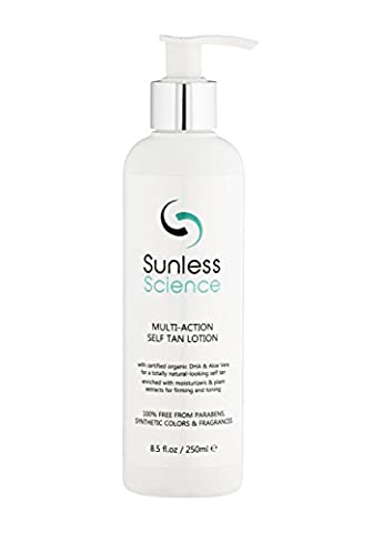 Sunless Science Multi-action Self Tan Lotion - Best-selling USA Organic Natural Sunless Tanner Fragrance-Free Paraben-Free Non-Toxic Untinted Self Tanning Cream Sensitive Light Medium Dark Skin