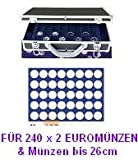 SAFE 268 - 190 ALU MÜNZKOFFER DIAMANT SCHWARZ FÜR 240 x 2 EUROMÜNZEN - mit 6 Tableaus Nr. 190 mit runden Vertiefungen -------- Ideal für Münzen bis 26 mm oder bis Caps 20 oder für 2 Euro Gedenkmünzen Sammlungen von Andorra - Estland bis Zypern
