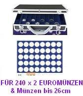 Preisvergleich Produktbild SAFE 268 - 190 ALU MÜNZKOFFER DIAMANT SCHWARZ FÜR 240 x 2 EUROMÜNZEN - mit 6 Tableaus Nr. 190 mit runden Vertiefungen -------- Ideal für Münzen bis 26 mm oder bis Caps 20 oder für 2 Euro Gedenkmünzen Sammlungen von Andorra - Estland bis Zypern