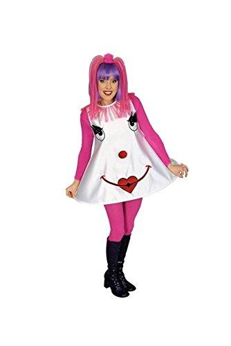 Clown Harlekin Kostüm für Damen Einheitsgröße in weiß & pink | Clowns Kleid mit Clowns-Gesicht Bestickung | sexy Clownfrau Outfit | Zirkus Lady für Karneval & ()