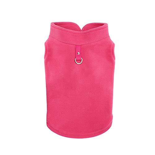 Hundebekleidung, Hundemantel Haustier Hund Katze Warm Hoodies Pullover Polarfleece Weste mit D Ring(Hot pink, L)