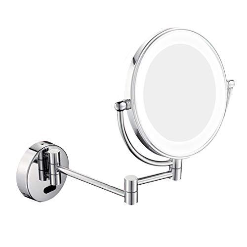 MFASD Espejo De Maquillaje Montado En La Pared con Luz Doble Cara, Espejo Tocador Extensible 3X Aumento...