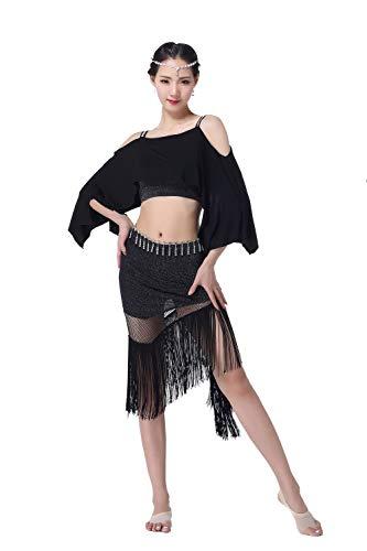 Kostüm Sexy Für Fledermaus Erwachsene - DRESSS Bauchtanz-Kostüm für Erwachsene, Fledermaus-Ärmel mit Fransen, posiert mit sexy Sling (Farbe : Schwarz, größe : M)