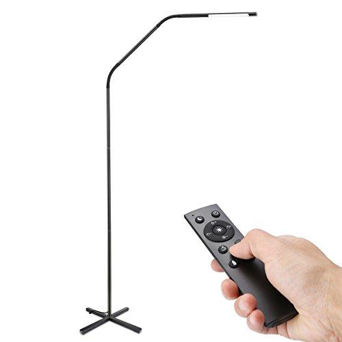 LE LED Stehlampe 6W stufenlos dimmbar Metall Stehleuchte, faltbare LED Leselampe mit Touch & Fernbedingung Steuerung, Schwanenhals Flexibel 500lm 3000-6000K Bodenlampe für Wohnzimmer Schlafzimmer Büro