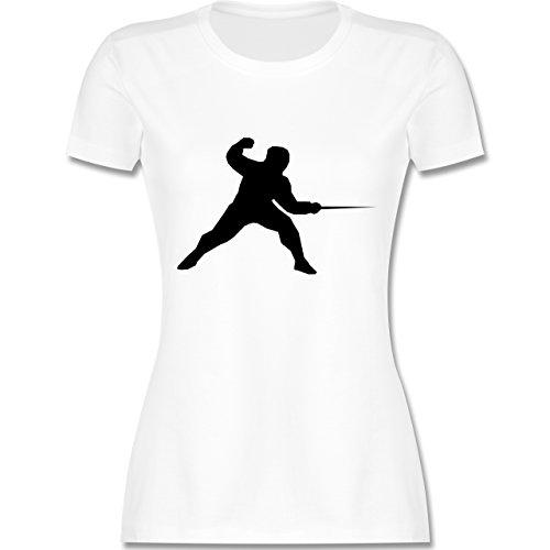 Kampfsport - Fechten - tailliertes Premium T-Shirt mit Rundhalsausschnitt für Damen Weiß
