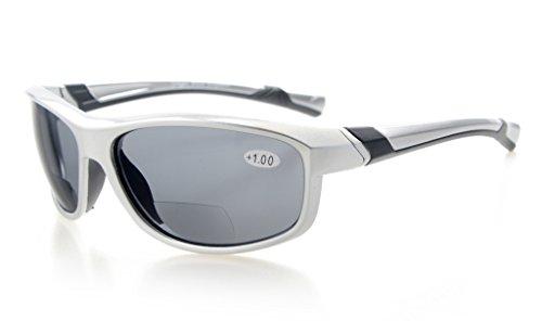 Eyekepper Mode Sport Bifokale Sonnenbrille TR90 Unzerbrechlich Draussen Leser Baseball Laufen Angeln Fahren Golf Softball Wandern Silber Rahmen Grau Linse +1.5 (Baseball Silber Sonnenbrillen)