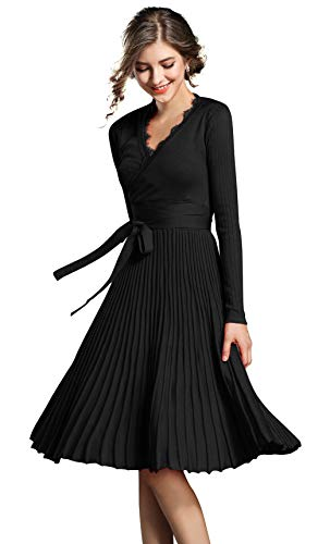 LAI MENG Damen Ärmellos/Langarm V-Ausschnitt Stretch Midikleid/Maxiklied Casual A-Linie Party Kleid