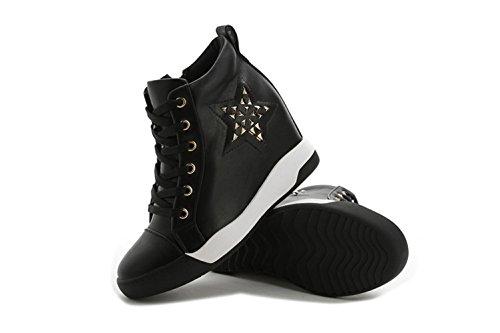 Damen Lässige Runde Zehen Schnürsenkel Weiche Sportliche Modische Niet Sterne Dicke Sohle Aufzug Sneakers Schwarz