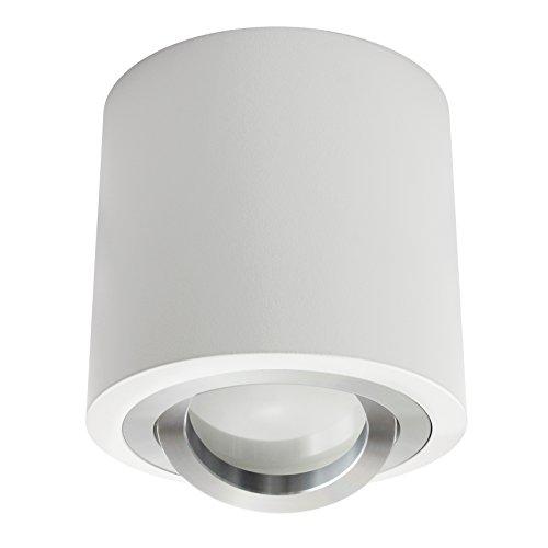 LED Aufbaustrahler Aufbauleuchte / Aufputz Deckenleuchte / schwenkbar / Aluminium rund weiß / GU10-230V WF9 (Warmweiß)