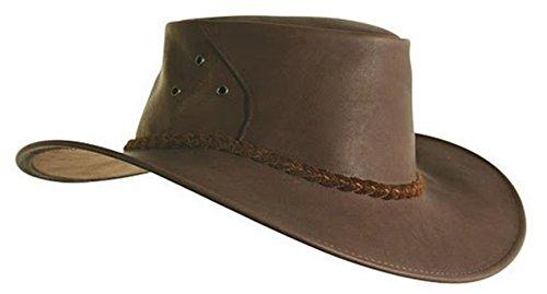 echter Känguru- Lederhut in braun und rost mit Geflochtenem Hutband, hergestellt in Australien...