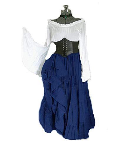 Hellomiko Frauen mittelalterlichen viktorianischen königin Kleider kostüm ausgestellte ärmel Fancy Renaissance Dress (Mittelalterliches Bankett Kostüme)