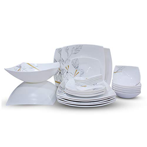Soogo Opalware Dinner Set, 27-Pieces, White and Black
