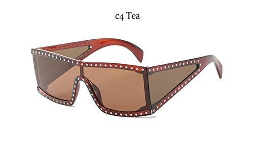 Cranky Orange Übergroße Markenmode Schwarze Sonnenbrille Männer Fahren Coole Sonnenbrille Quadratische männliche Flat-Top-Brille mit Spiegelantrieb, C4 Tea