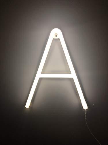 Smiling Faces UK Neon LED weiße Buchstaben Licht Zeichen - Wandbehang batteriebetrieben - Brief A - Zeichen Neon-licht