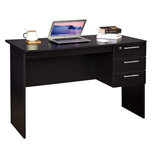 WOLTU Schreibtisch TS59sz Computertisch Bürotisch Arbeitstisch PC Laptop Tisch, mit 3 Schubladen und Schloss, aus Holz, 120x59x75cm(BxTxH), Schwarz