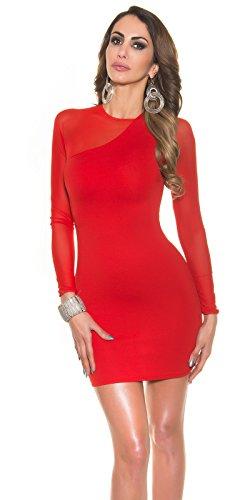 Sexy mini abito con maniche trasparenti KouCla by in-Fashion Style SKU 0000KO -9061 Rosso