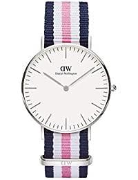 Daniel Wellington - 0605DW - Southampton - Montre Mixte - Quartz Analogique - Cadran Argent - Bracelet Nylon Multicolore