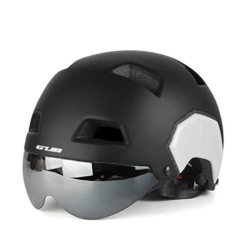 FOONEE Mountain Bike Helm, Skateboard Helm Road Bike Helm mit Visier, die Hälfte Helm für Damen/Herren, Matt Black White, Large