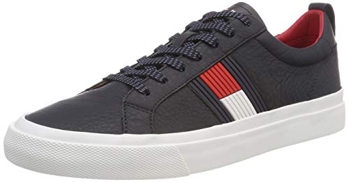 Tommy hilfiger flag detail leather sneaker, scarpe da ginnastica basse uomo, blu (midnight 403), 42 eu