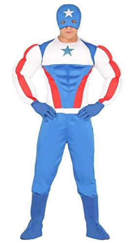 Fiestas Guirca Costume Capitan America Uomo Supereroe Taglia M, Colore Azzurro,Bianco E Rosso, M 88280